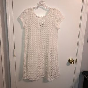 Speechless | White Crochet Overlay Dress Medium
